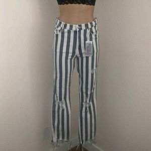 Zara Striped Destroyed Skinny Denim